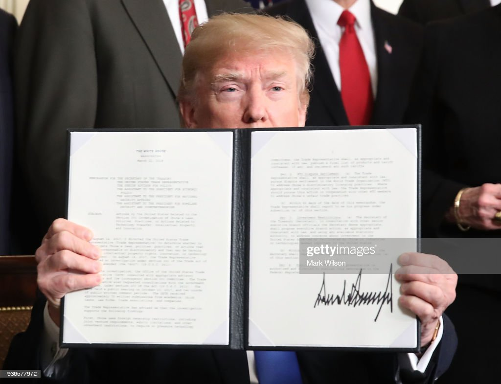 President Trump Signs A Presidential Memorandum On Sanctioning China Over Economic Aggression