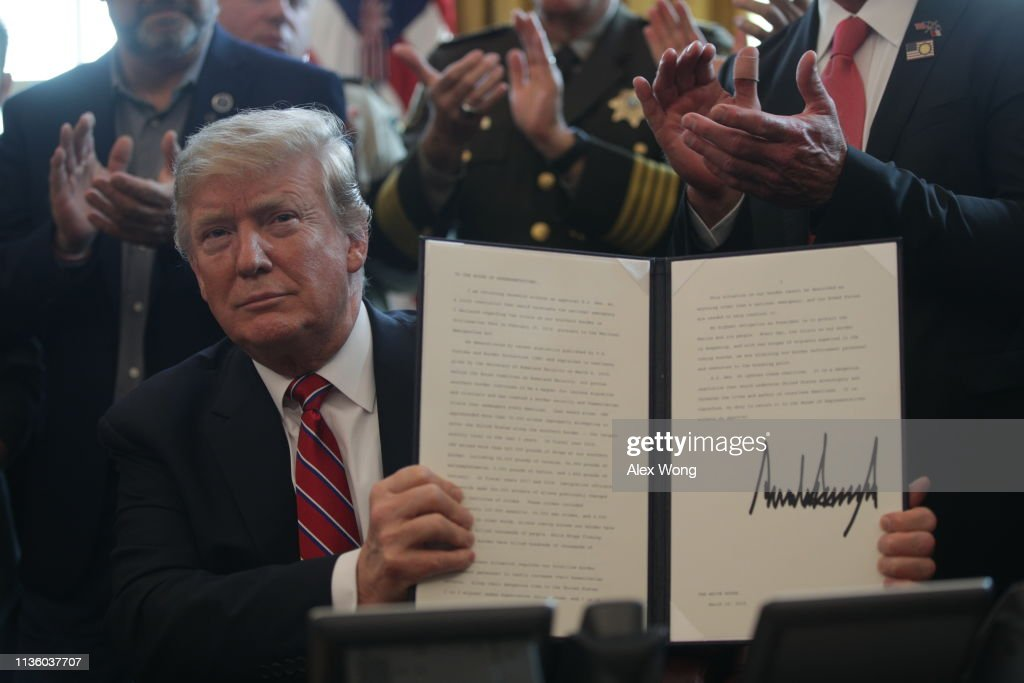 President Trump Vetoes Emergency Declaration Resolution Approved By Congress : News Photo