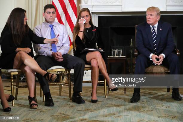 US President Donald Trump hosts a listening session with Marjory Stoneman Douglas High School shooting survivors Julie Cordover and Jonathan Blank...