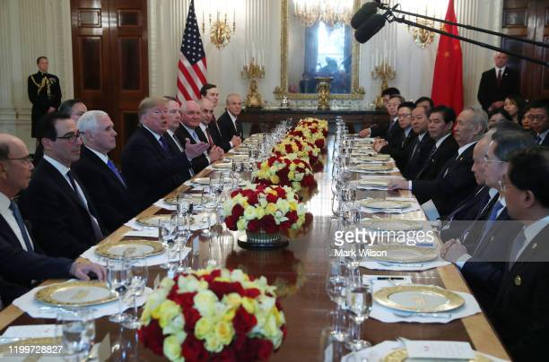 S President Donald Trump hosts a luncheon for Chinese Vice PremierLiuHe and members of his delegation after signing phase 1 of a trade deal between...