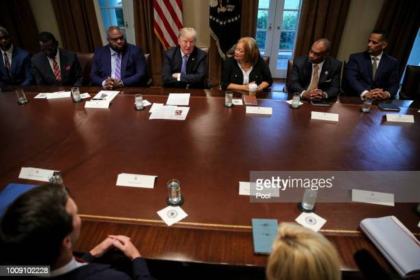 US President Donald Trump hosts a meeting with inner city pastors in the Cabinet Room of the White House on August 1 2018 in Washington DC