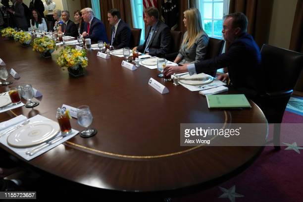 "S President Donald Trump hosts a working lunch with governors on ""workforce freedom and mobility"" at the Cabinet Room of the White House June 13 2019..."