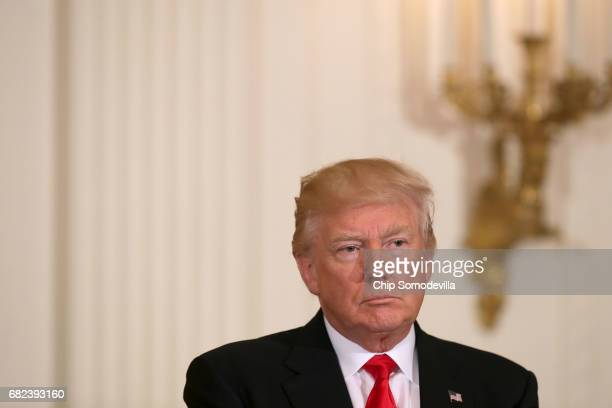 S President Donald Trump hosts an event for military mothers on National Military Spouse Appreciation Day with is wife first lady Melania Trump in...