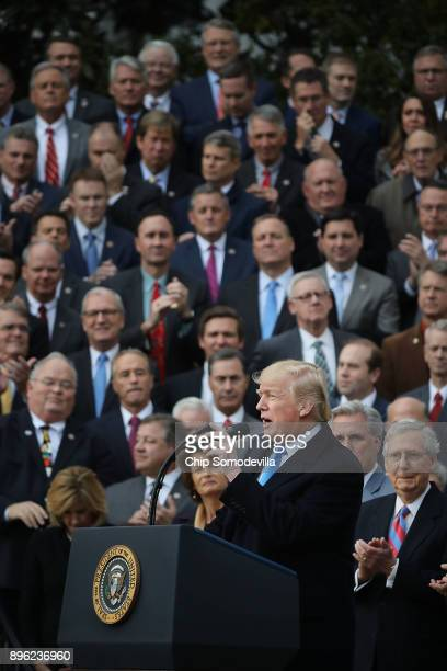 S President Donald Trump hosts an event to celebrate Congress passing the Tax Cuts and Jobs Act with Republican members of the House and Senate on...