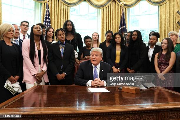S President Donald Trump hosts Coach Kim Mulkey and the Baylor women's NCAA championship basketball team visit in the Oval Office at the White House...