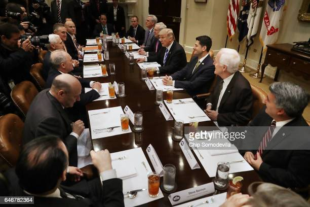 President Donald Trump hosts Republican Congressional leaders Rep Kevin McCarthy Senate Majority Leader Mitch McConnell Speaker of the House Paul...
