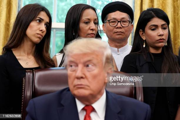 S President Donald Trump hosts survivors of religious persecution from 17 countries around the world including Iraqi Yazidi human rights activist and...