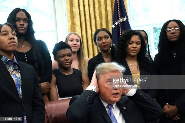 S President Donald Trump hosts the Baylor women's NCAA championship basketball team in the Oval Office at the White House April 29 2019 in Washington...