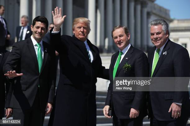 S President Donald Trump House Speaker Paul Ryan Irish Taoisech Enda Kenny and Rep Peter King pose for photographers outside the Capitol after the...