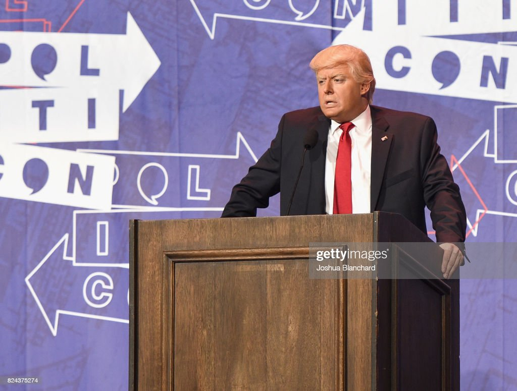 President Donald Trump impersonator, Anthony Atamanuik at 'The Trump Dump' panel during Politicon at Pasadena Convention Center on July 29, 2017 in Pasadena, California.