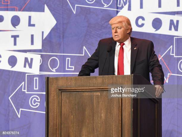 President Donald Trump impersonator Anthony Atamanuik at 'The Trump Dump' panel during Politicon at Pasadena Convention Center on July 29 2017 in...