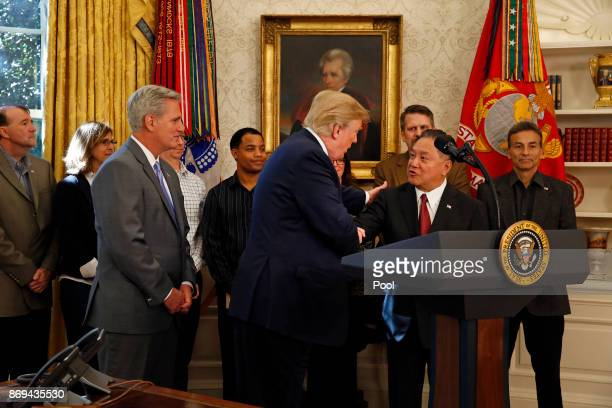 US President Donald Trump introduces Broadcom CEO Hock Tan prior to Tan announcing the repatriation of his company's headquarters to the United...