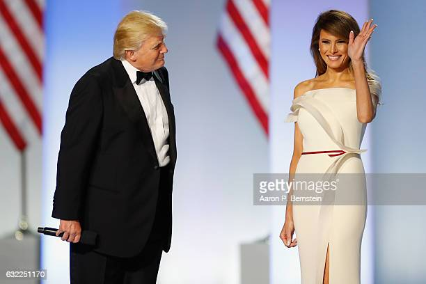 President Donald Trump introduces first lady Melania Trump at the Freedom Inaugural Ball at the Washington Convention Center January 20, 2017 in...