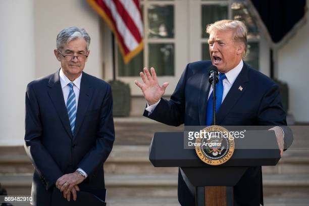 S President Donald Trump introduces his nominee for the chairman of the Federal Reserve Jerome Powell during a press event in the Rose Garden at the...
