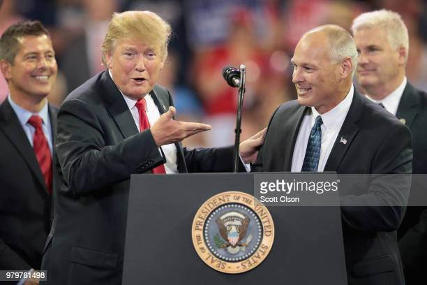 President Donald Trump introduces Pete Stauber Republican candiate for the US House in Minnesotas 8th District during a campaign rally at the Amsoil...