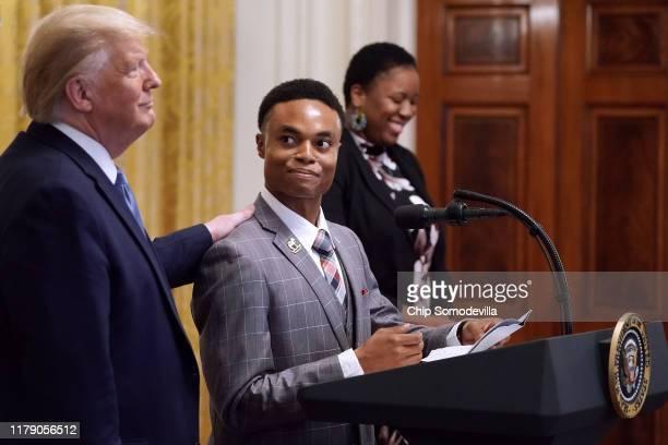 S President Donald Trump invites US Army veteran Ben Okereke President of the Turning Points USA chapter at Georgia State University to speak during...