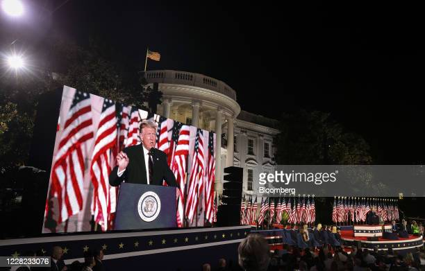 President Donald Trump is displayed on a screen while speaking during the Republican National Convention on the South Lawn of the White House in...