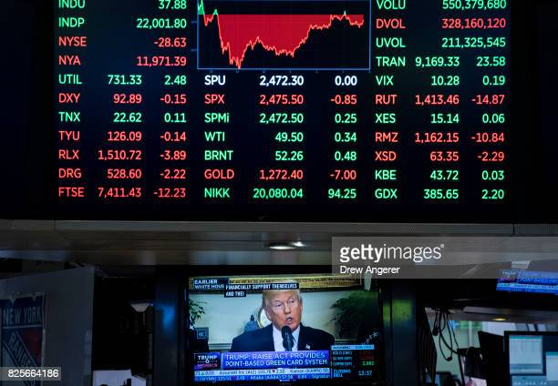 President Donald Trump is displayed on a television screen on the floor of the New York Stock Exchange ahead of the closing bell August 2 2017 in New...