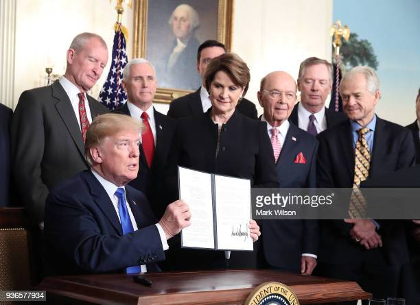 S President Donald Trump is flanked by members of the business community as he holds up a signed presidential memorandum aimed at what he calls...