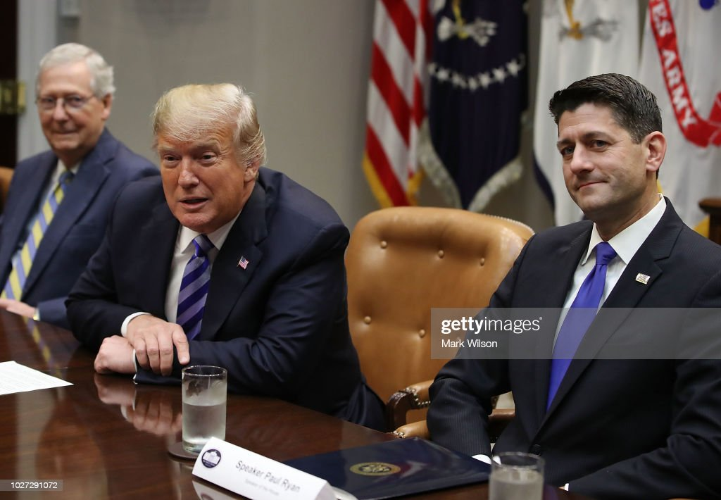 President Trump Meets With Republican Congressional Leadership : News Photo