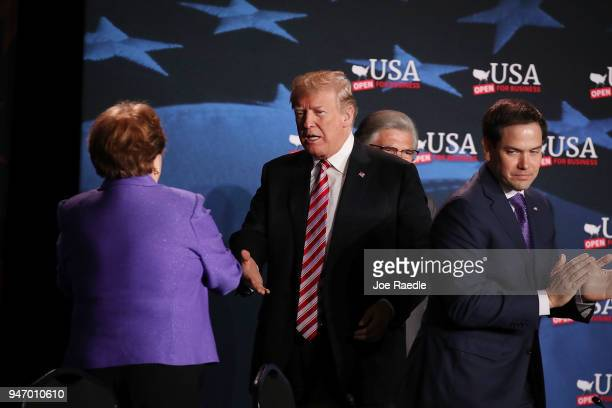 S President Donald Trump is greeted as he arrives for a roundtable discussion about the Republican $15 trillion tax cut package he recently signed...
