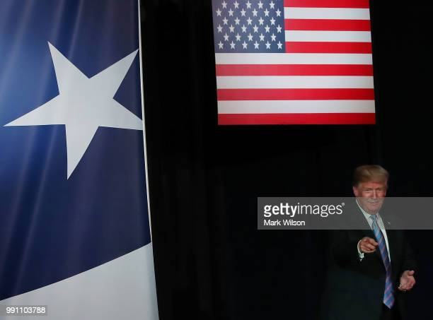 S President Donald Trump is introduced before speaking at a salute to service dinner at the Greenbrier Resort on June 3 2018 in White Sulphur Springs...