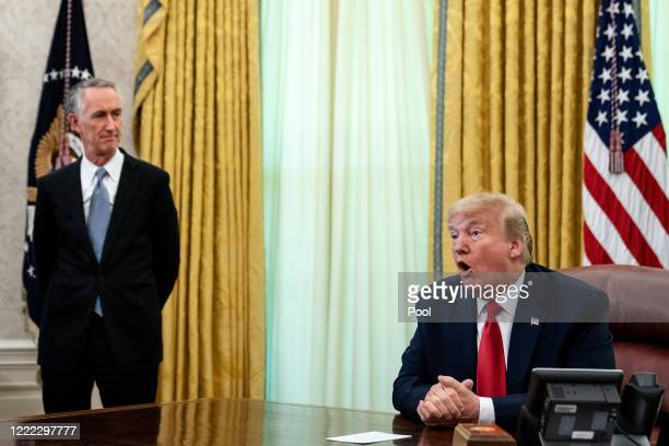 President Donald Trump is joined by Gilead Sciences Chairman and CEO Daniel O'Day to announce that the Food and Drug Administration issued an...