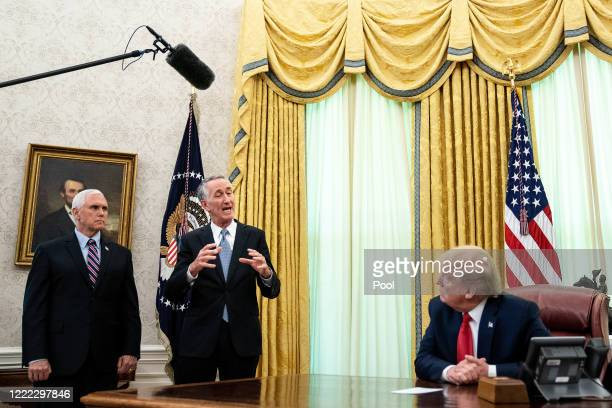 President Donald Trump is joined by Gilead Sciences Chairman and CEO Daniel O'Day and Vice President Mike Pence to announce that the Food and Drug...