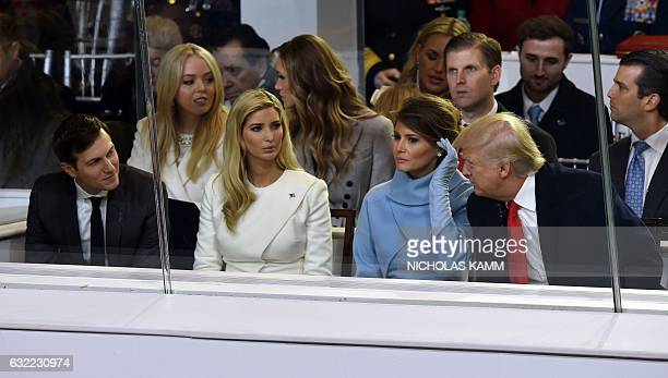President Donald Trump is joined by US First Lady Melania Trump , his daughter Ivanka Trump and her husband Jared Kushner during the presidential...