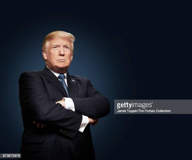 President Donald Trump is photographed for Forbes Magazine on October 6 2017 in the Oval Office in Washington DC CREDIT MUST READ Jamel Toppin/The...
