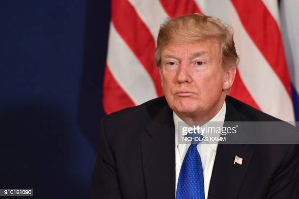 US President Donald Trump is pictured during a bilateral meeting with Israel's Prime Minister on the sidelines of the World Economic Forum annual...