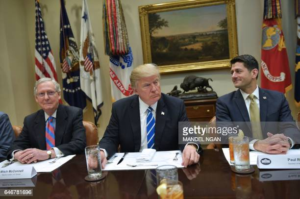US President Donald Trump is seated for a a lunch with Republican Party House and Senate leadership including Senate Majority Leader Mitch McConnell...