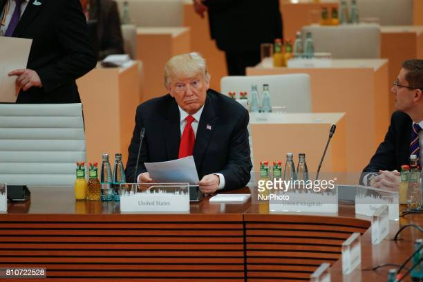 President Donald Trump is seen ahead of the third plenary session of the G20 summit in Hamburg, Germany on 8 July, 2017.