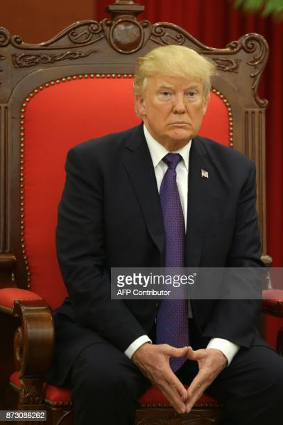 President Donald Trump is seen at a meeting with Vietnam Communist Party General Secretary Nguyen Phu Trong in Hanoi on November 12 2017 Trump...