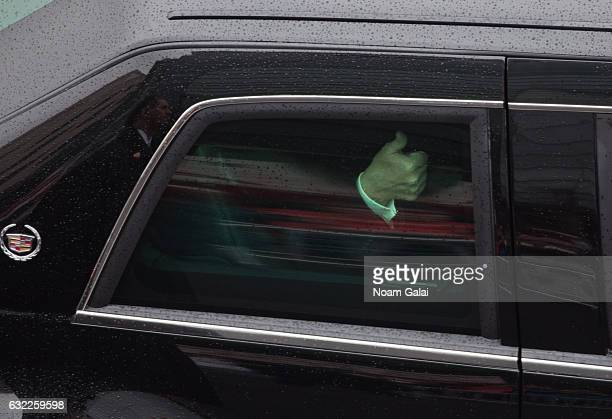 S President Donald Trump is seen at the Presidential Inaugural parade on January 20 2017 in Washington DC