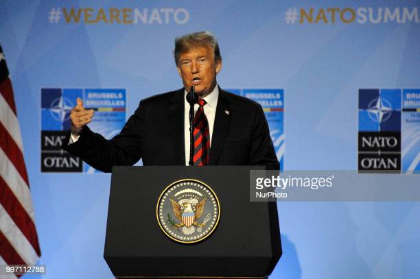 US president Donald Trump is seen during his press conference at the 2018 NATO Summit in Brussels Belgium on July 12 2018