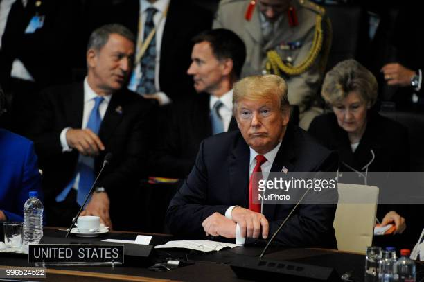 US president Donald Trump is seen during the 2018 NATO Summit in Brussels Belgium on July 11 2018