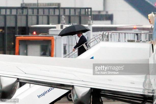 President Donald Trump is seen on arrival at Osaka International Airport ahead of the G20 summit on June 27, 2019 in Toyonaka, Osaka, Japan. World...