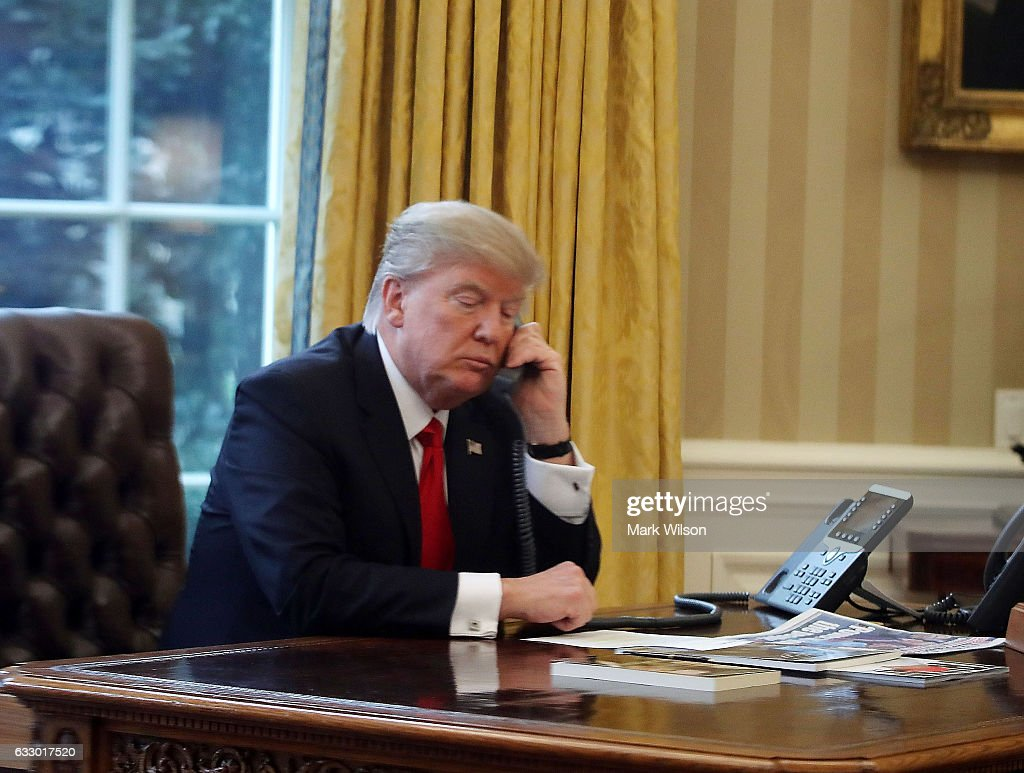 President Trump Speaks With King Of Saudi Arabia From The White House : News Photo
