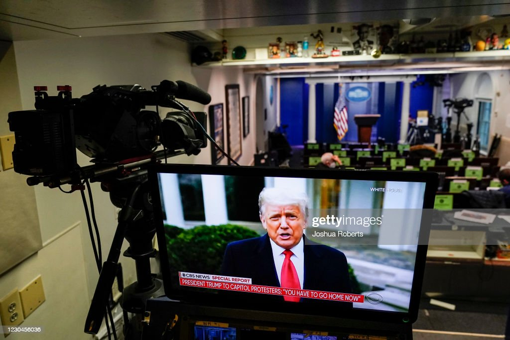 President Trump Addresses Protesters In D.C. Via Video Statement : News Photo