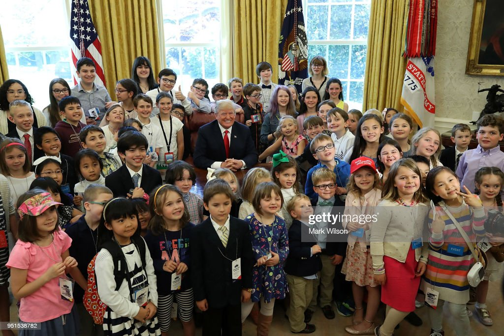 President Trump Meets Hosts Children In The Oval Office On Bring Your Child To Work  Day