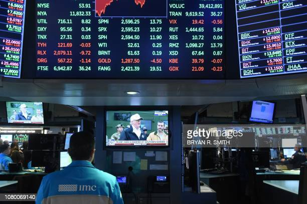 US President Donald Trump is televised discussing the southern border wall as traders work on the floor at closing bell of the Dow Industrial Average...
