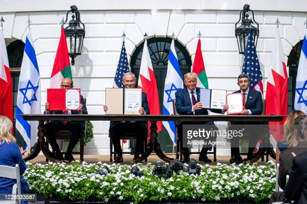 President Donald Trump , Israeli Prime Minister Benjamin Netanyahu , UAE Foreign Minister Abdullah bin Zayed Al Nahyan and Bahrain Foreign Minister...
