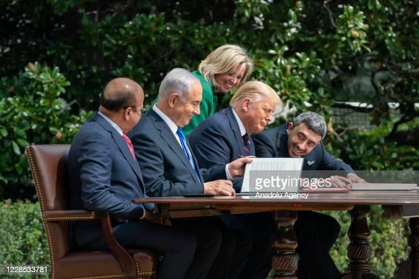 President Donald Trump , Israeli Prime Minister Benjamin Netanyahu , UAE Foreign Minister Abdullah bin Zayed Al Nahyan and Bahrain Foreign Minister...