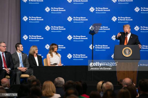 President Donald Trump joined by first lady Melania Trump speaks at the Rx Drug Abuse Heroin Summit on April 24 2019 in Atlanta Georgia President...