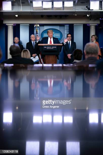 S President Donald Trump joined by members of the Coronavirus Task Force speaks during a briefing on the coronavirus pandemic in the press briefing...