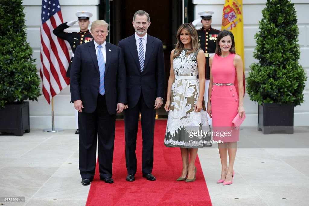 President Trump Hosts Spain's King Felipe And Queen Letizia At The White House : Nieuwsfoto's