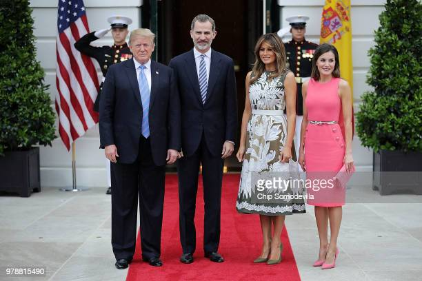 US President Donald Trump King Felipe VI of Spain first lady Melania Trump and Queen Letizia of Spain pose for photographs outside the White House...