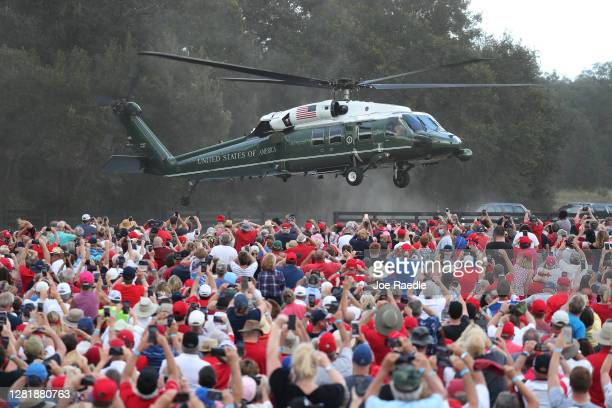 President Donald Trump lands on Marine One for his campaign event at The Villages Polo Club on October 23, 2020 in The Villages, Florida. President...