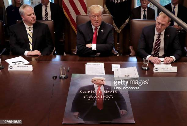 US President Donald Trump leads a meeting of his Cabinet including Health and Human Services Secretary Alex Azar acting Interior Secretary David...